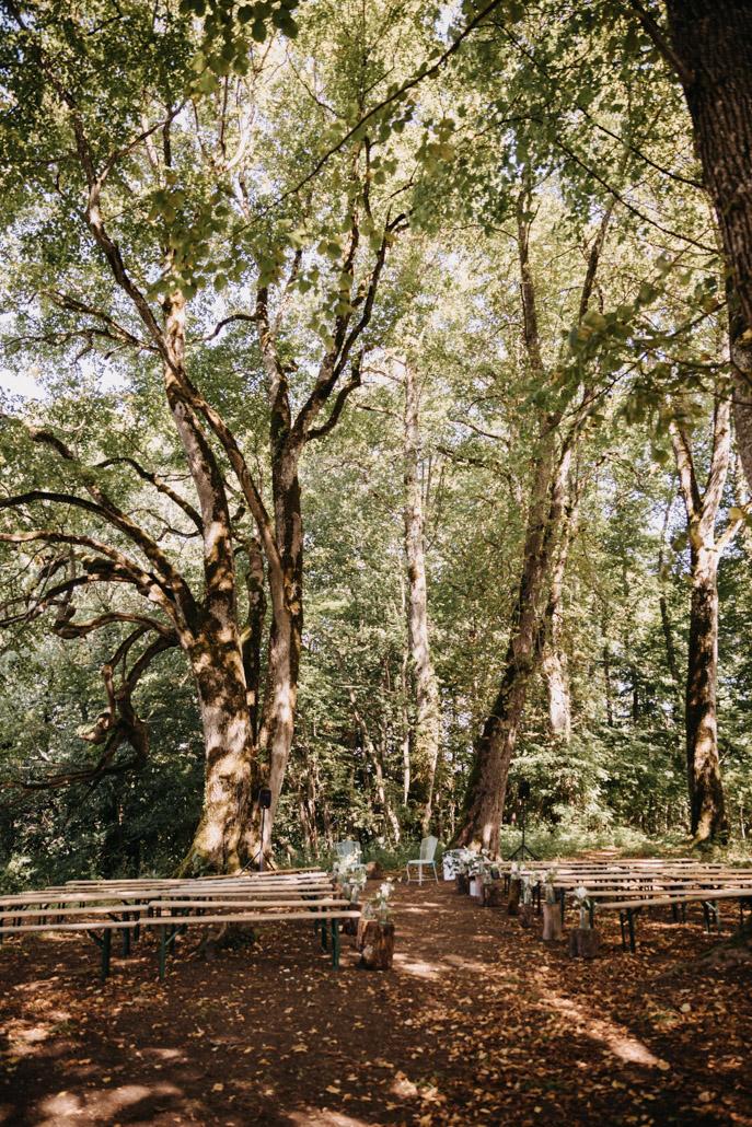 Installation pour la cérémonie laïque en forêt