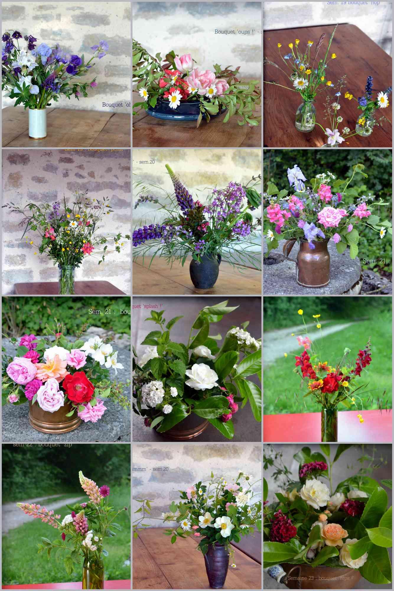 Bouquets divers, contenants variés