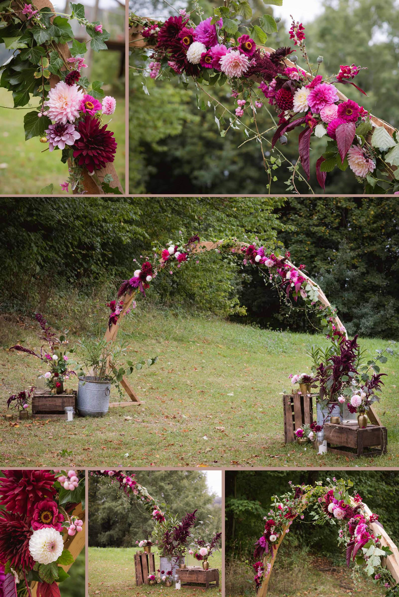 arche fleuries : dahlias, zinnias, pavot, amarante, etc.